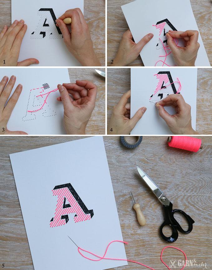 sticken, neonpink,  bäckergarn, stitch, fluo, kraftpaper, embroidery, paper, typographie