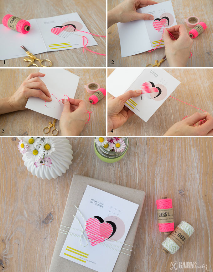 DIY Anleitung für heartstitch gestickte Muttertagskarten