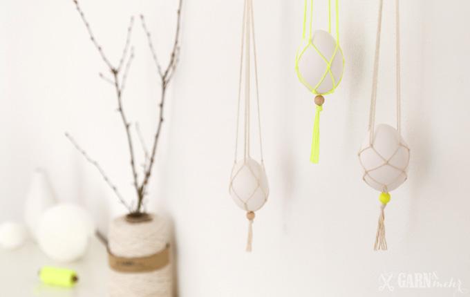 DIY Deko für Ostern mit Makramee hängenden Eiern