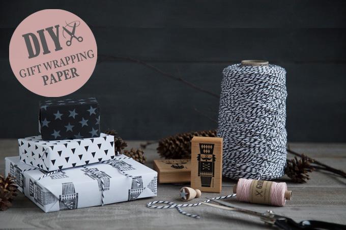 Geschenkpapier stempeln - schwarz-weiss | GARN & MEHR