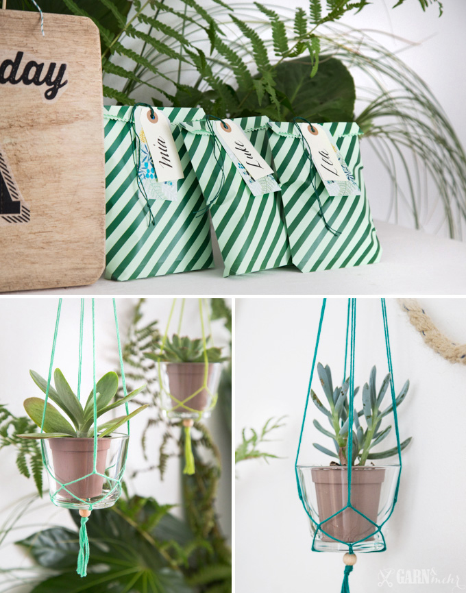 Selfmade Goodiebags and DIY hanging planters with yarn for a urban jungle party decoration - www.garn-und-mehr.de