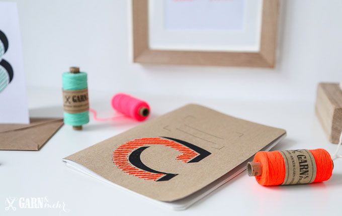 sticken, neonpink, mint, neonorange, bäckergarn, stitch, fluo, kraftpaper, embroidery, paper, typographie