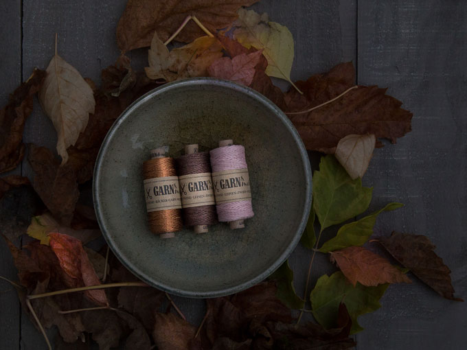 Herbstfarben - colours of autumn: copper, linen twine brown and powder-rose | GARN & MEHR